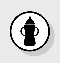 baby bottle sign flat black icon in white vector image