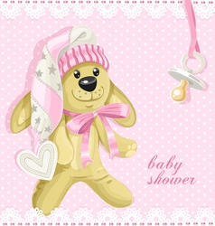 Baby shower card with pink soft toy rabbit vector image
