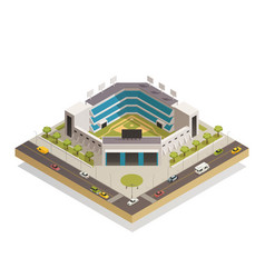 Baseball sport stadium isometric composition vector