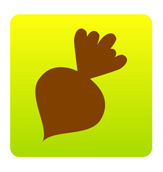 beet simple sign brown icon at green vector image