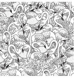 black and white flamingos seamless pattern vector image