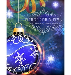 Blue Christmas ball with fir branches and tinsel vector image