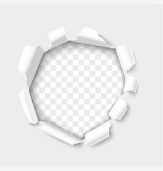 breakthrough paper hole realistic 3d vector image