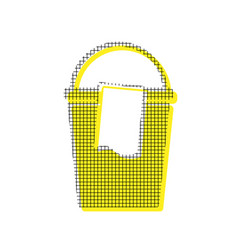 bucket and a rag sign yellow icon with vector image