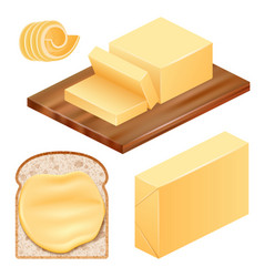 Butter icon set realistic style vector