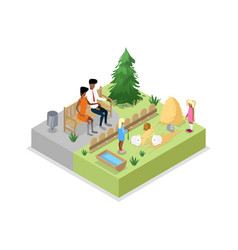 cage with rabbits isometric 3d icon vector image