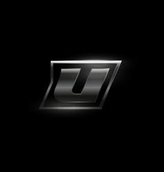 Carbon speed letter u logo dark matte metal vector