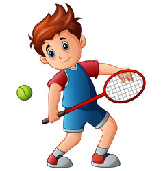 cartoon boy playing tennis vector image