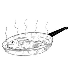 Cartoon drawing of fish cooked on frying pan vector
