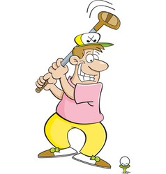 Cartoon golfer swinging a golf club vector