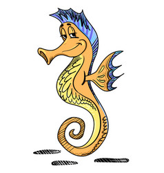 Cartoon image of seahorse vector