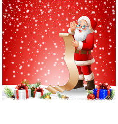 Christmas background with santa read reward list vector
