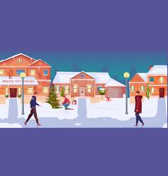 christmas houses vector image