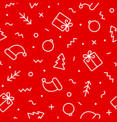 christmas seamless pattern outline flat objects vector image
