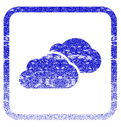 Clouds framed textured icon vector