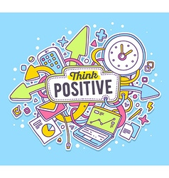 colorful of office objects with text on blue vector image