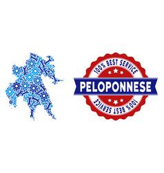 Composition peloponnese peninsula map of repair vector