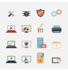 Computer repair flat icons set vector