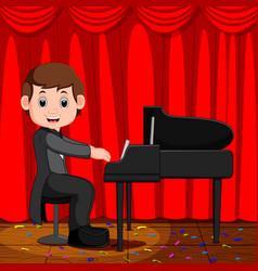 cute boy cartoon playing piano vector image