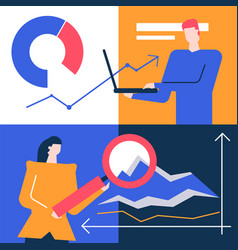 data analysis - flat design style colorful vector image