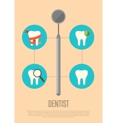 Dentist banner with dental mirror vector image