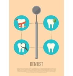 Dentist banner with dental mirror vector