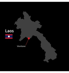 detailed map laos and capital city vientiane vector image
