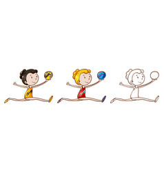 Doodle character for gymnastic with ball vector