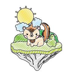 doodle tender chipmunk animal in the float island vector image