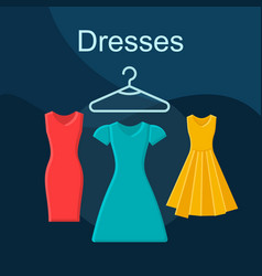 Dresses flat concept icon vector