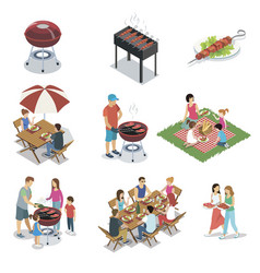 Family grill barbecue party isolated set vector