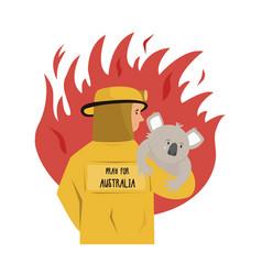 Flat a fire fighter rescuing koala vector