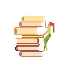 flat girl climbing books pile vector image