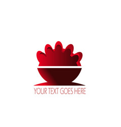 food dish or restaurant logo with red concept vector image