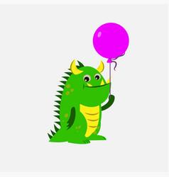 funny cartoon cute dinosaur with balloons card vector image