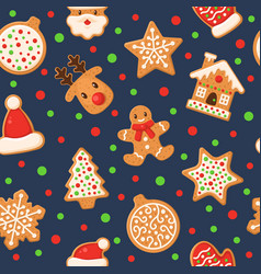 Gingerbread seamless pattern holiday gingerbreads vector