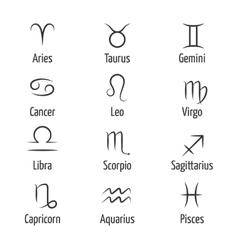 Hand drawn zodiac symbols vector image