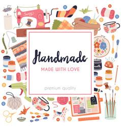 Handmade crafts art accessories and materials vector