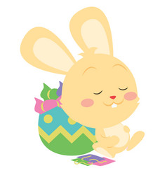 happy yellow bunny character art vector image
