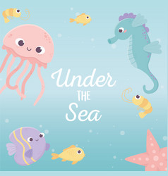 jellyfish fishes seahorse starfish life cartoon vector image