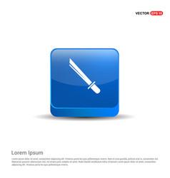 katana sword icon - 3d blue button vector image