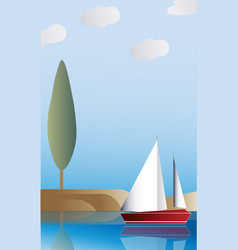 landscape with the ship vector image