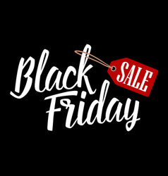 Lettered text black friday with hanging sale tag vector