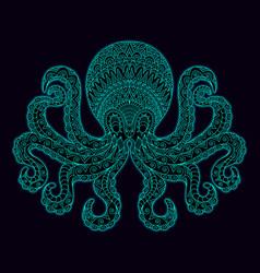 Line art octopus glow in dark vector