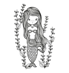 line happy siren woman with branches leaves vector image