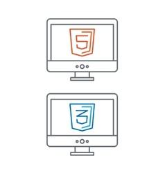 line of web development icons html vector image