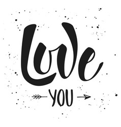 love you modern ink brush calligraphy with splash vector image