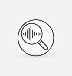 magnifying glass with sound wave round line vector image