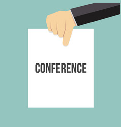 man showing paper conference text vector image