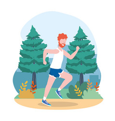 man training exercise and running activity vector image